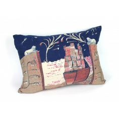 Hand-Printed Silk Ship Cushion by Rose de Borman, available to buy at www.englishabode.com