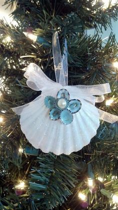 Seashell Christmas Ornament -Beach Decor - Nautical Holiday Ornament w Aqua…