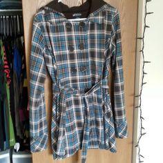 Plaid Trench Coat Good condition. Lightweight material. Juniors XL. Self Esteem Jackets & Coats Trench Coats