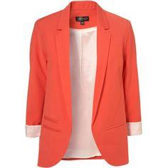 Tangerine Boyfriend Blazer ($130) ❤ liked on Polyvore featuring outerwear, jackets, blazers, tops, boyfriend jacket, red blazer, red jacket, boyfriend blazer and tangerine jacket