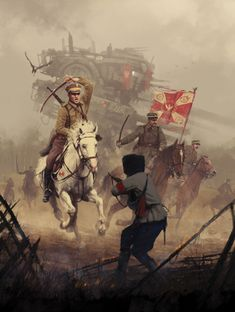 Beautiful illustration of a fight! White horse and red banners. Very realistic!