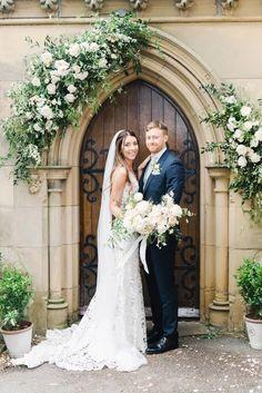 Small Church Weddings, Church Wedding Flowers, Church Wedding Decorations, Flower Bouquet Wedding, Wedding Church Aisle, Fall Wedding, Rustic Wedding, Flower Archway, Altar Flowers