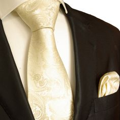 Champagne Paisley Wedding Necktie Set by Paul Malone (P26H)