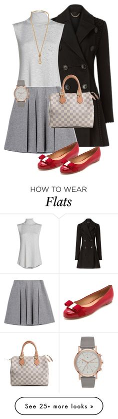 """Perfect Pair..."" by mcodyfashionanddesign on Polyvore featuring Burberry, NIC+ZOE, FWSS, Salvatore Ferragamo and Louis Vuitton"