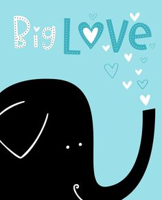 Wall Art Print Animal Series- Elephant Big Love Blue