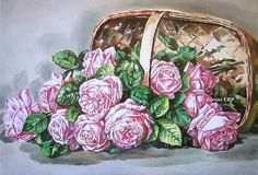 Print Free Ship Basket of Pink Roses Paul by VictorianRosePrints, $10.99