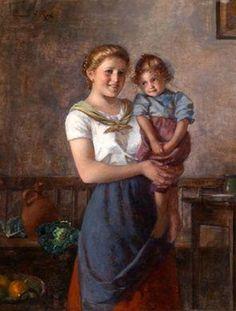 """Mother And Child"" -- Edmund Adler (1876 – 1965, Austrian)"