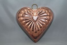 "Vintage ODI Solid Copper 6"" Heart Shaped Cake Jello Mold Pan http://autopartspuller.com/ Great Sale 50% off entire store!! Copper, Glassware, Wood Crafts, Scrap Booking"
