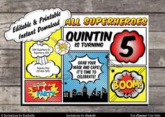SALE Superhero Invitation Comic Birthday Party - Editable Printable Digital File with Instant Download by InstantPartyDesigns on Etsy https://www.etsy.com/listing/159441642/sale-superhero-invitation-comic-birthday