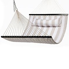 Outdoor Décor  EmpirePatio Quilted Hammock 55 Wide (HAMQ55TW, Tan/White) *** This is an Amazon Associate's Pin. Click the image to visit the website for more info.