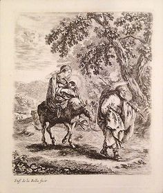 Stefano Della Bella -Flight Into Egypt - Original Old Master Etching