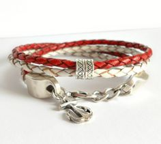 On Sale, Red and White Bolo Leather Bracelet with Thai Silver $20