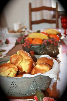 """""""Little Women"""" Christmas breakfast - Grandma deRoos was related to Louisa May Alcott, so seems extra fitting to make this. Popovers, muffins, sausage, etc - yum!"""