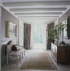 White beams in foyer