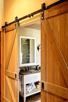 "Sliding Barn Doors - quite a hot design feature now (2015), but they don't really need to look like ""barn doors"""