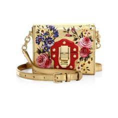 Dolce & Gabbana Miss Luccia Mini Rose-Print Metallic Leather Shoulder... ($1,995) ❤ liked on Polyvore featuring bags, handbags, shoulder bags, purses, clutches, purse shoulder bag, handbag purse, mini shoulder bag, shoulder handbags and metallic leather handbags
