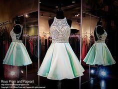 Mint Short Homecoming Dress-High Beaded Neckline-Open Back-Pockets-115RA040560