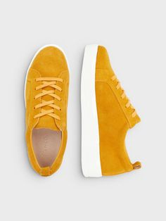LACED UP SUEDE SNEAKERS, Mustard, large