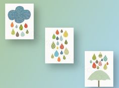 Nursery art, baby nursery decor, nursery wall art, kids art, baby art, cloud, umbrella, rain, Set of 3, 8 x 10 Prints - Raining Colors. $46.00, via Etsy.