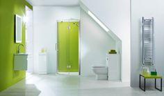 Beautiful simplistic bathroom with lime green splashback highlights