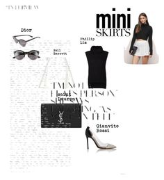 """""""Untitled #269"""" by mem1 ❤ liked on Polyvore featuring Christian Dior, 3.1 Phillip Lim, Neil Barrett, Yves Saint Laurent, Gianvito Rossi, Tobi and MINISKIRT"""