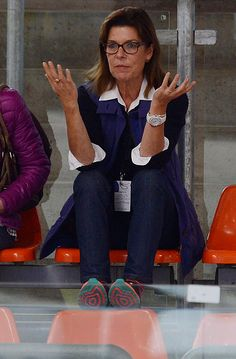 Princess Caroline of Monaco reacts during the junior ladies free skating of ISU Junior Grand Prix of figure skating on September 11, 2015 in Linz, Austria.