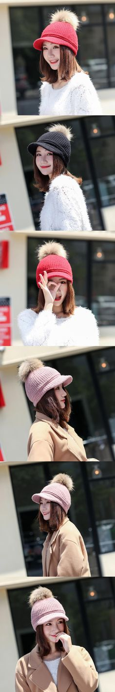 4318d254918 2017 New Real Fur Pom pom Cap For Women Spring Autumn Baseball Cap With Raccoon  Fur pompoms Brand Snapback Winter warm knit hat