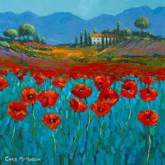 Poppies in Blue Art Print by Chris Mc Morrow Landscape Art, Landscape Paintings, Creative Landscape, Arte Country, Arte Floral, Blue Art, Watercolor Paintings, Poppies Painting, Poppies Art