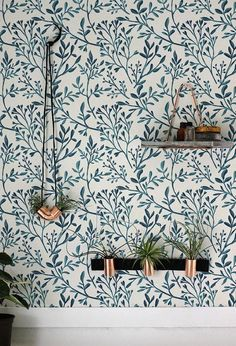 Floral wallpaper and indoor plants - Modern Interior Design Decor, Removable Wallpaper, Wall Wallpaper, Wall Decor, Interior, Bohemian Room Decor, Cheap Home Decor, Home Decor, Small Decor