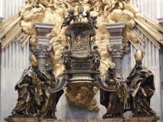 Saints Ambrose, Athanasius, Augustine and John Chrysostom upholding the chair of Saint Peter Baroque Sculpture, Lion Sculpture, John Chrysostom, Gian Lorenzo Bernini, Traditional Books, Italian Baroque, Gypsy Decor, Sacred Architecture, Ad Art