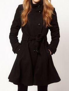 Black Long Sleeve Drawstring Waist Trench Coat