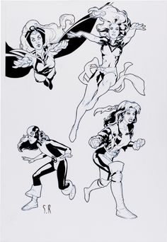 Storm, Phoenix, Kitty Pryde, and Rogue by Stephane Roux 2001 Comic Art