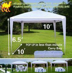 STRONG CAMEL EZ POP UP Wedding Party Tent 10'x10' Folding Gazebo Beach Canopy W/Carry Bag-WHITE by Sunrise, http://www.amazon.com/dp/B0093X7RBA/ref=cm_sw_r_pi_dp_L64vrb1QFZ9FT