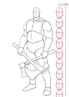 How to draw Kratos from God of War . Step by Step Tutorial Drawing Poses Male, Guy Drawing, Character Drawing, Drawing People, Figure Drawing, Drawing Sketches, Sketch Poses, Character Poses, Body Drawing Tutorial