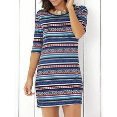 Bohemian Half Sleeve Scoop Neck Ethnic Print Stripe Bodycon Dress