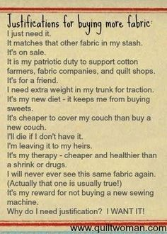 Justifications for buying more fabric