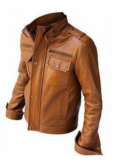 Handmade Men Tan brown color Leather Jacket - made to measure
