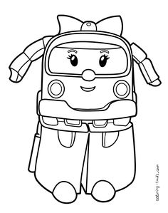 Robocar Poli coloring pages Amber for kids, printable free