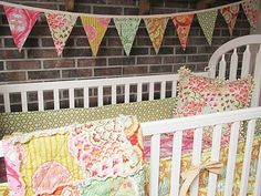 Baby Bedding 4piece rag crib quilt bumper by southerncharmquilts, $434.00