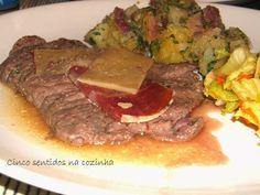 Cinco sentidos na cozinha: Bife de vaca à portuguesa com queijo