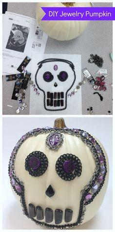 jewelry pumpkin DIY for a creative halloween decor idea!