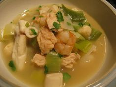 Seafood Leek Soup- use chicken or veggie broth for the broth- When she says bone broth she is referring to fresh stock made at home- you can use the store bought kind