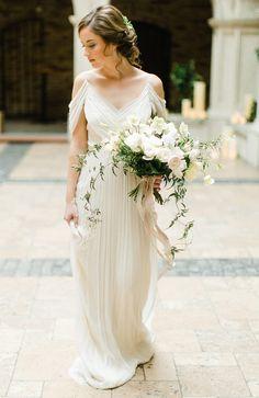 ranunculus, hellebores, lisianthus, jasmine, cyclamen, cascading bridal bouquet, ribbon