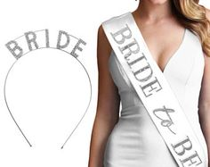 Rhinestone Bride Set - Rhinestone headband, Rhinestone Bride to be Sash, Bachelorette Party Tiara, Bachelorette Sash, Bridal Shower