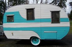 aqua white/ Really want a camper like this to fix up!  Just have to find it!!!