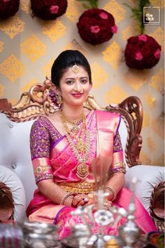 Pink silk saree is a must have in every women's wardrobe. Thus, let's have a look at beautiful blouse designs for pink color silk saree South Indian Wedding Saree, Indian Bridal Sarees, Wedding Silk Saree, Indian Bridal Fashion, Wedding Saree Blouse Designs, Pattu Saree Blouse Designs, Half Saree Designs, Mehndi Designs, Engagement Saree