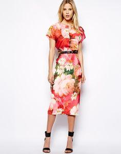 Imagen 1 de Vestido a media pierna con estampado floral brillante de Ted Baker