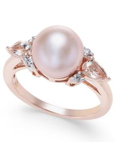 df9e54034 Pink Cultured Freshwater Pearl (9mm), Morganite (3/8 ct. t.w.) and Diamond  Accent Ring in 14k Rose Gold