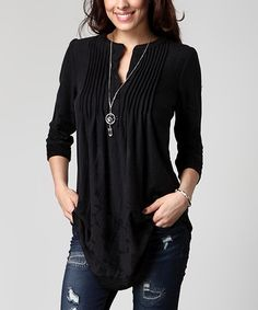 Love this Charcoal Floral Notch Neck Pin Tuck Tunic - Plus by Reborn Collection on #zulily! #zulilyfinds