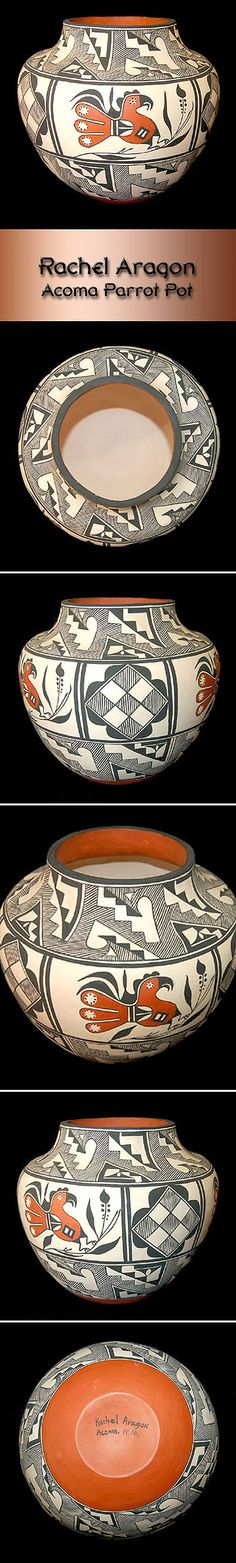 Pueblo Pottery by Rachel Aragon - Acoma Parrot Pot Pueblo Pottery, Artist Biography, Aragon, Paint Designs, Beautiful Hands, Parrot, Hand Painted, Parrot Bird, Parrots